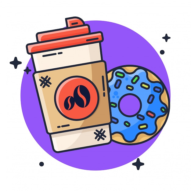 Coffee and donuts illustration Premium Vector