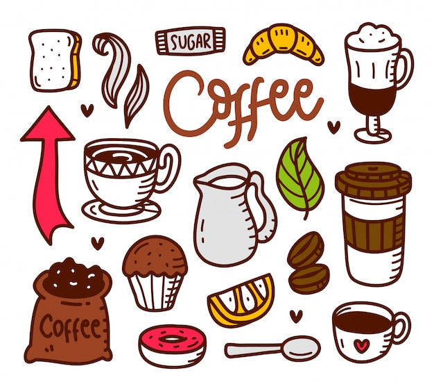 Coffee doodle hand drawn style Premium Vector