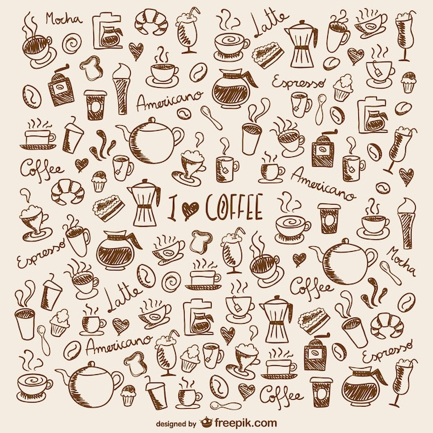 Coffee doodles Free Vector