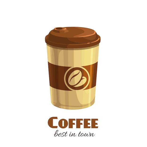 コーヒードリンク使い捨て紙コップアイコン漫画のスタイル。 Premiumベクター