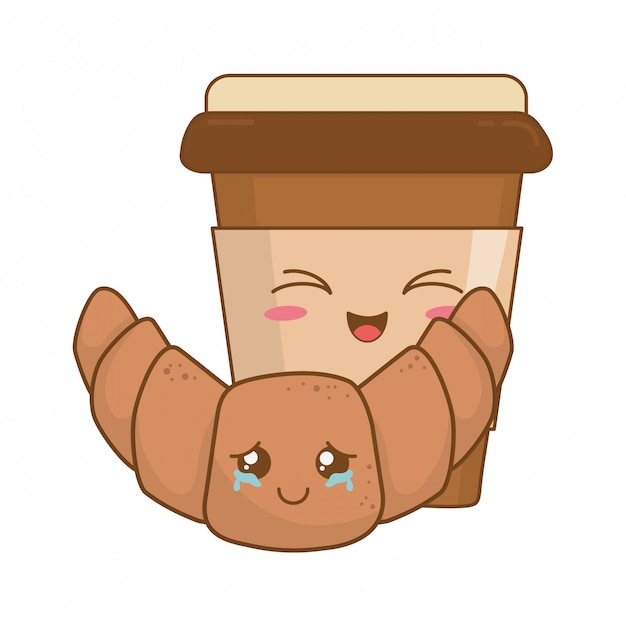 Coffee drink with croissant kawaii characters Premium Vector