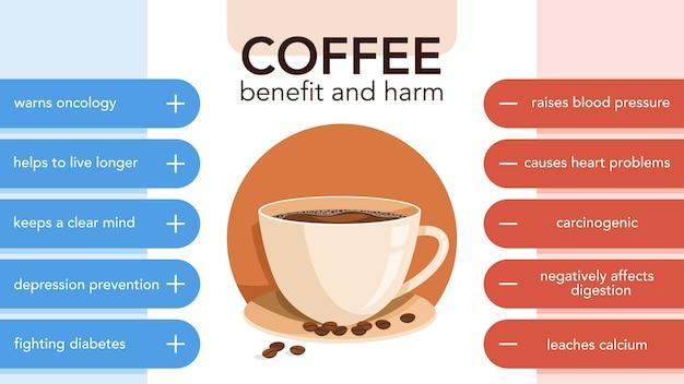 コーヒーは長所と短所のインフォグラフィックを飲みます。飲むコーヒーの効果と結果。図 Premiumベクター