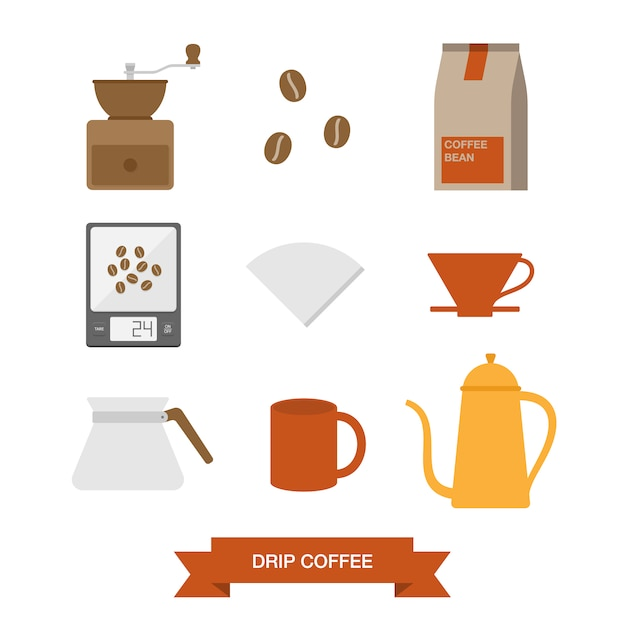 Coffee elements collection Free Vector