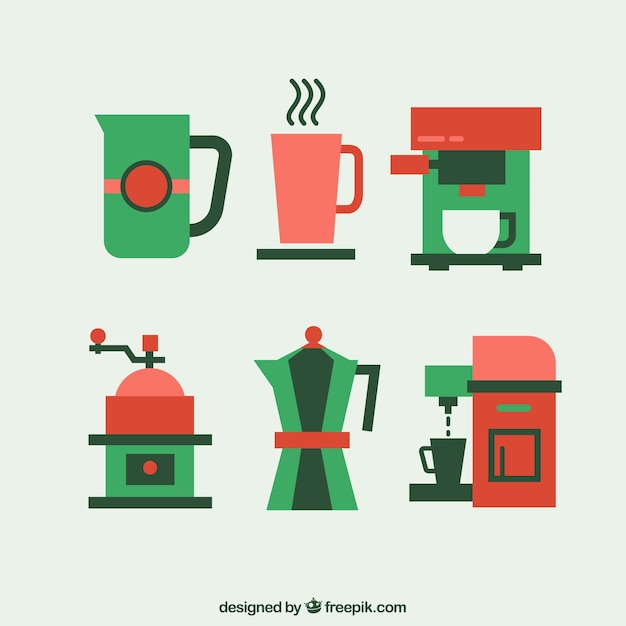 Coffee elements icons Free Vector