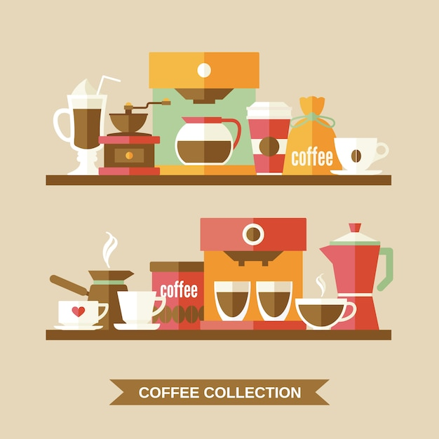 Coffee elements on shelves Free Vector