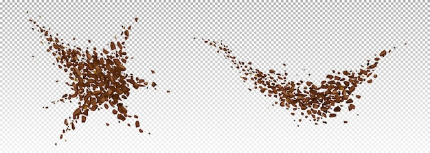 Coffee explosion, realistic ground bean powder burst with brown particles splash, flying granules, design elements for beverage or cafe isolated , 3d vector illustration Free Vector