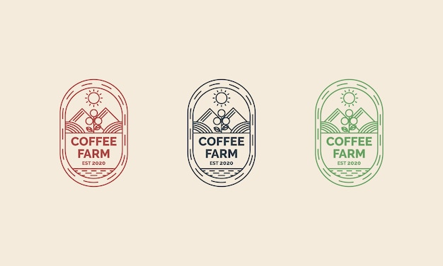 Дизайн логотипа кофейной фермы с иллюстрацией стиля концепции искусства линии. подходит для значков, эмблем и значков Premium векторы