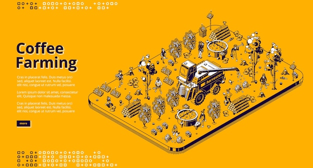 Coffee farming banner. eco technologies for picking coffee beans on plantation. isometric illustration of modern field with solar panels, combine harvester, trees and workers Free Vector