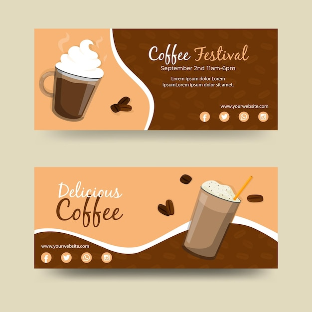 Coffee festival banners designs Free Vector