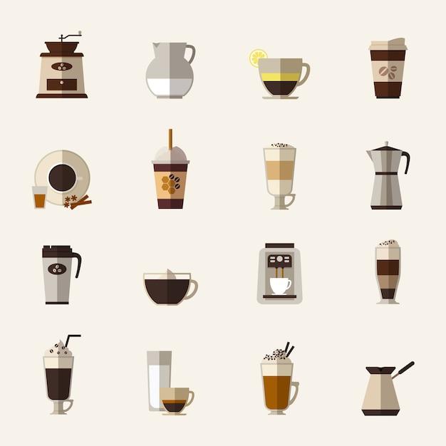 Набор иконок плоский кофе. чашка с туркой, кофемолка и чайник, напиток и латте, еда на вынос и мокко Бесплатные векторы
