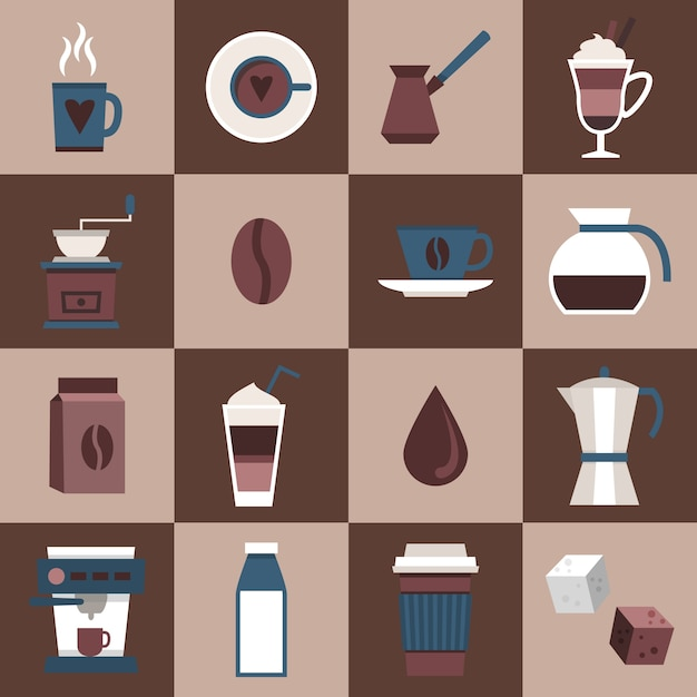 Coffee flat icons set with cup mug hot dring\ pot turk pouch jar isolated vector illustration