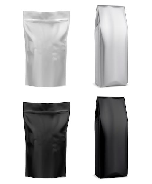 コーヒーホイルバッグ、白いパッケージ。 Premiumベクター