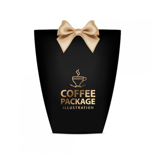 コーヒーギフトボックステンプレート。金の弓が付いている現実的な黒いパッケージ Premiumベクター