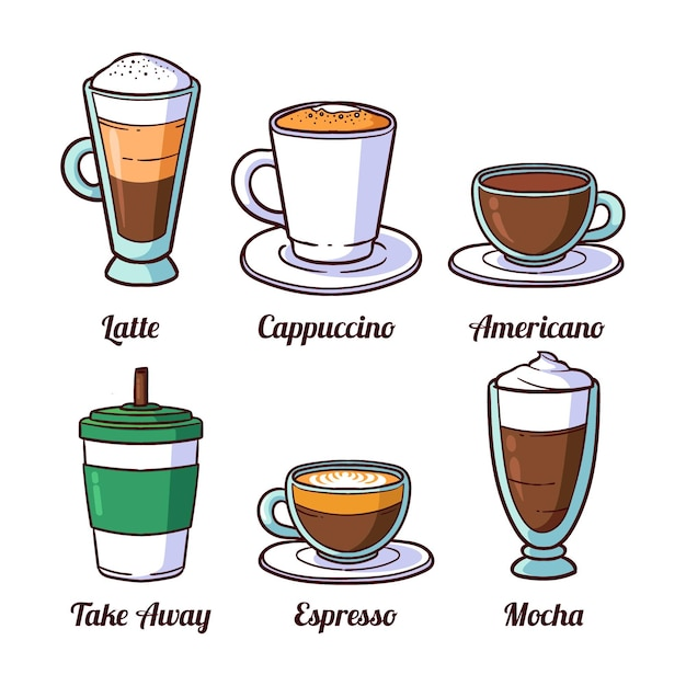 Coffee in glass cups and coffee to go Premium Vector