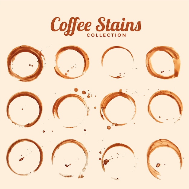 Coffee glass stain texture set of twelve Free Vector