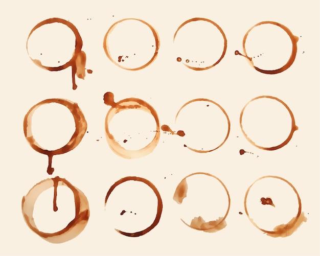12의 커피 유리 질감 얼룩 세트 무료 벡터