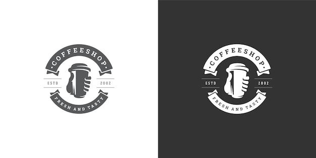 Coffee to go shop logo template illustration Premium Vector