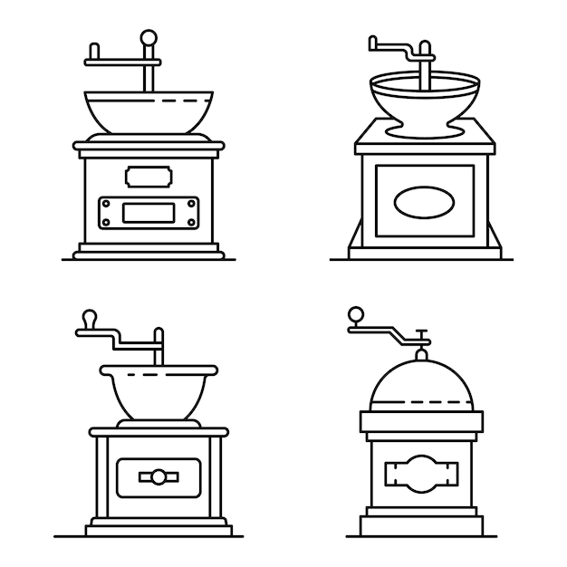Coffee grinder icons set. outline set of coffee grinder vector icons Premium Vector