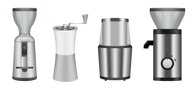 Coffee grinder icons set Premium Vector