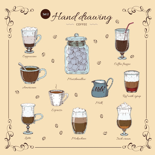Insieme colorato disegnato a mano del caffè Vettore gratuito