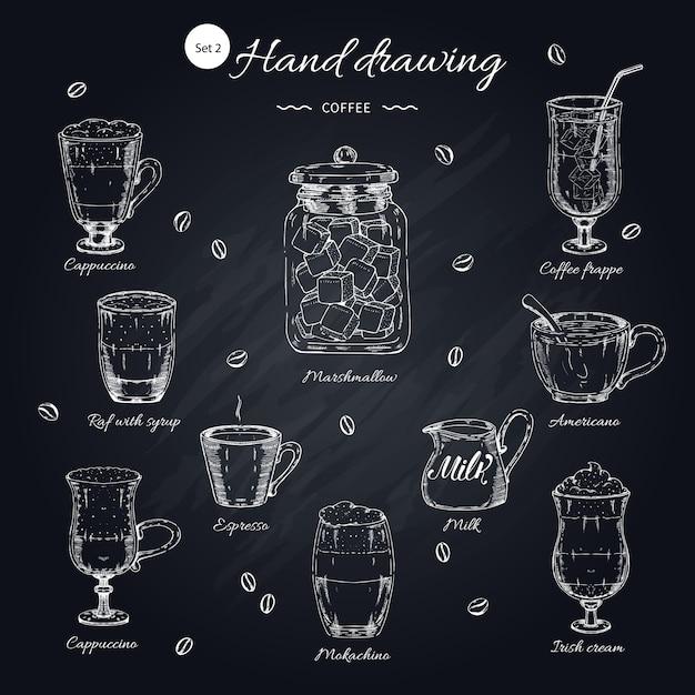 Набор кофе рисованной элементов Бесплатные векторы