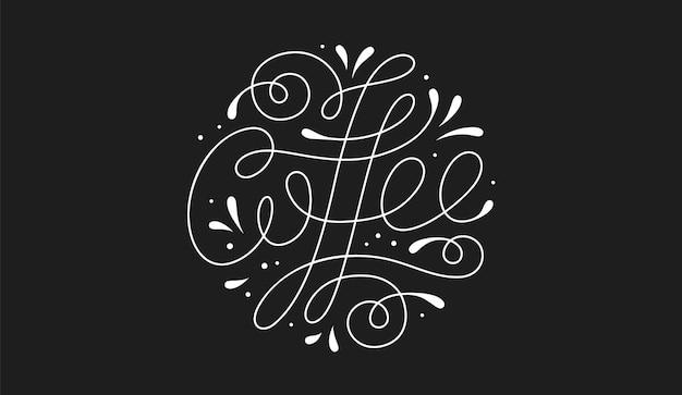 Coffee. hand-drawn lettering text coffee on dark black background Premium Vector
