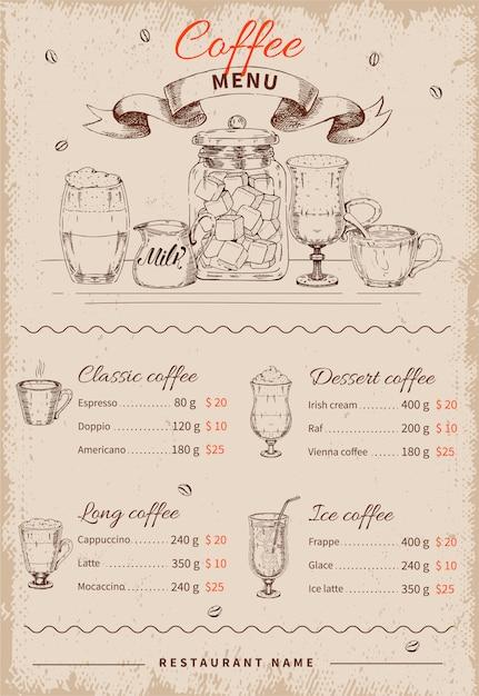 Coffee hand drawn меню ресторана Бесплатные векторы