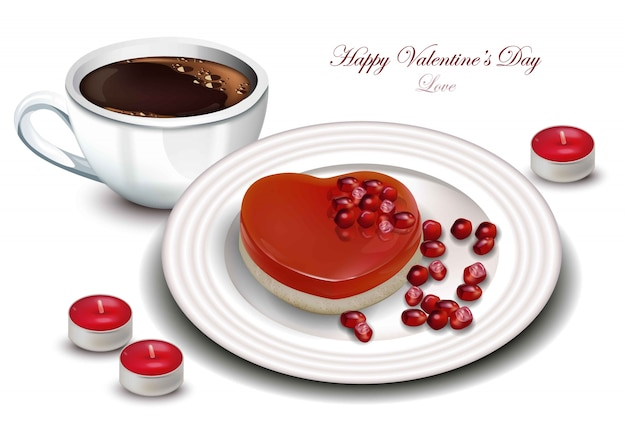 Coffee and heart shape dessert vector realistic. sweet romantic valentine day cards Premium Vector