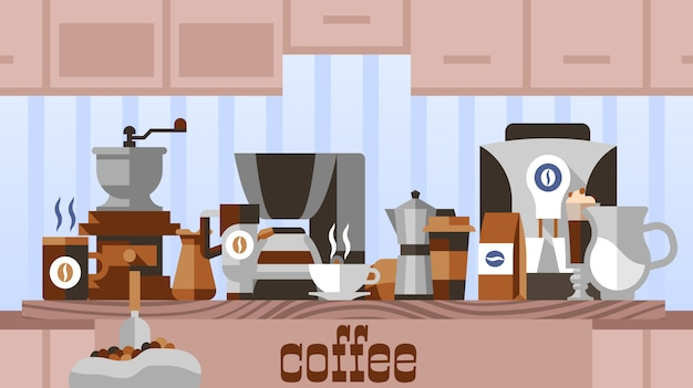 Coffee home concept Free Vector