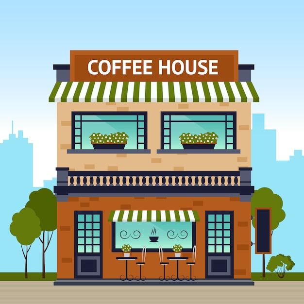 Coffee house building Free Vector