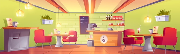 Coffee house or cafe interior with cashier desk, machine, chalkboard menu, shelf with roasted beans packs, tables and armchairs, litter bin. empty cafeteria, food court. cartoon vector illustration Free Vector