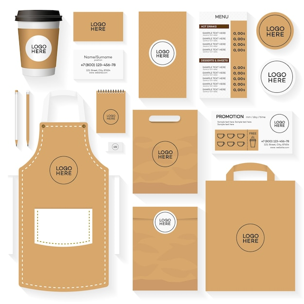 コーヒーハウスコーポレートアイデンティティテンプレートデザインセット。レストランカフェセットカード、チラシ、メニュー、パッケージ、制服デザインセット。 Premiumベクター