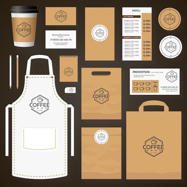 コーヒーショップのロゴと一杯のコーヒーで設定されたコーヒーハウスコーポレートアイデンティティテンプレートデザイン。レストランカフェセットカード、チラシ、メニュー、パッケージ、制服デザインセット。 Premiumベクター
