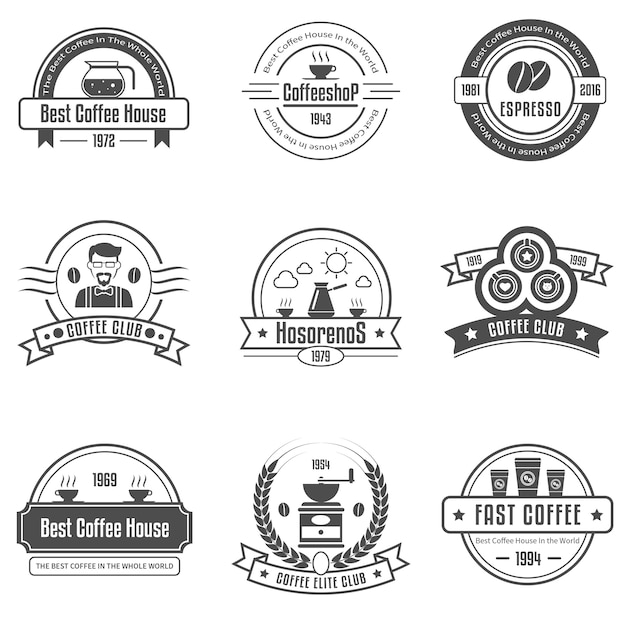 Coffee house emblems set Free Vector