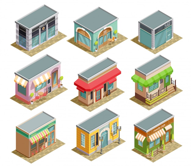 Coffee house isometric set Free Vector
