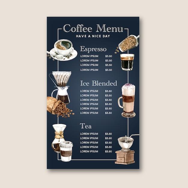 Coffee house menu americano, cappuccino, espresso menu, infographic, watercolor illustration Free Vector