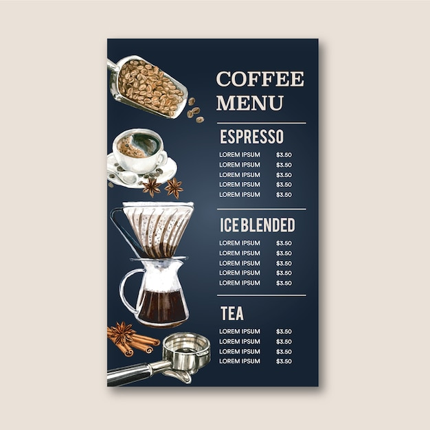 Coffee house menu americano, cappuccino, espresso menu, infographic, watercolor illustration Free Vector