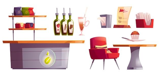Кофейня или кафе интерьерный набор вещей Бесплатные векторы