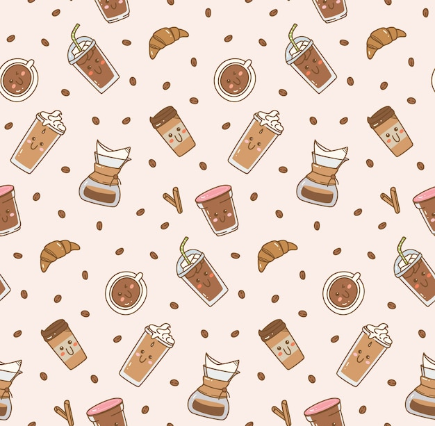 Coffee icon set pattern in kawaii doodle style Premium Vector