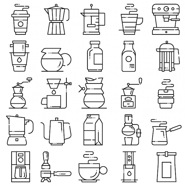 Coffee icon set Premium Vector