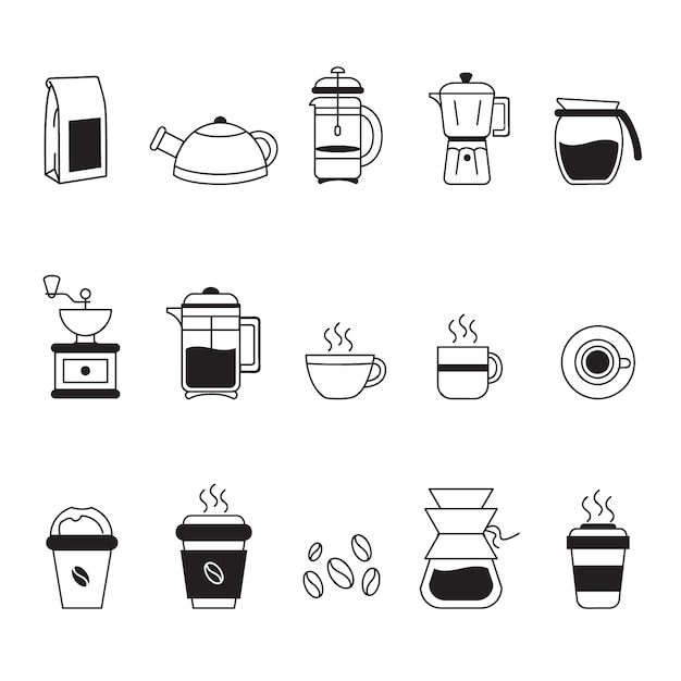 Coffee icons collection Free Vector