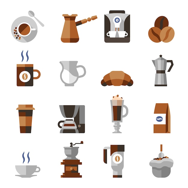 Coffee icons flat set Free Vector