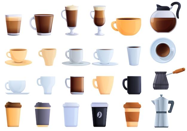 Coffee icons set. cartoon set of coffee vector icons Premium Vector