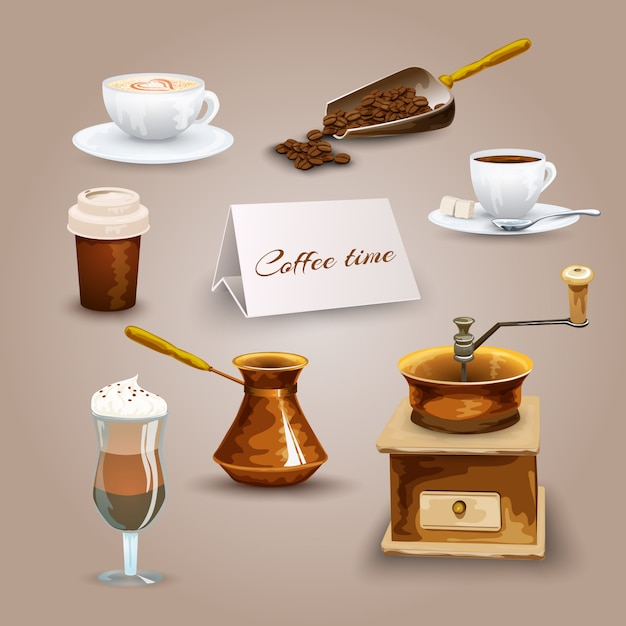 Coffee icons set Free Vector