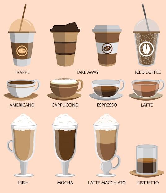コーヒーのアイコンを設定 Premiumベクター