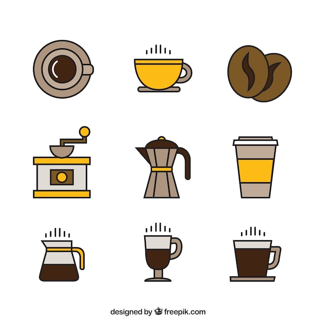 Coffee icons in yellow and brown tones Free Vector