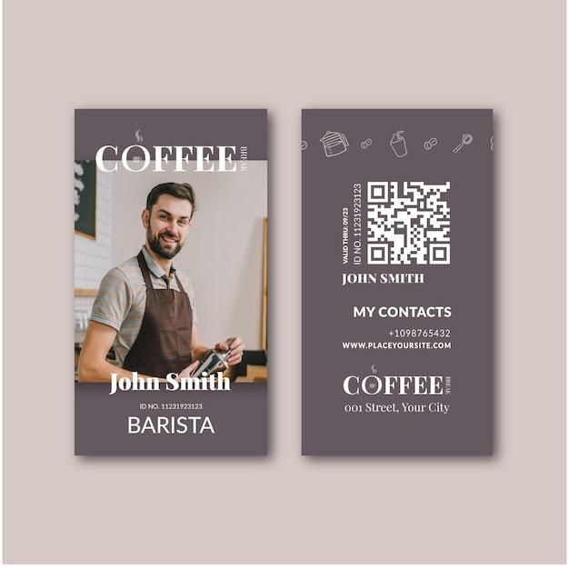 Modello di carta d'identità del caffè Vettore gratuito