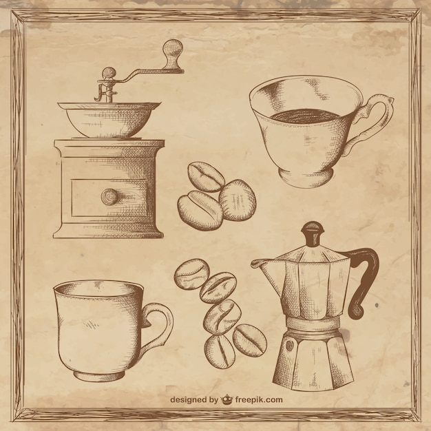 Coffee illustrations Free Vector