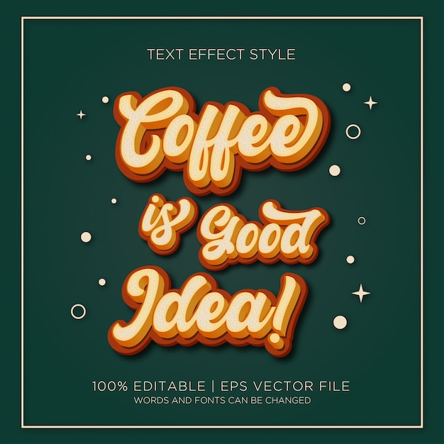 Coffee is good idea text effects Premium Vector