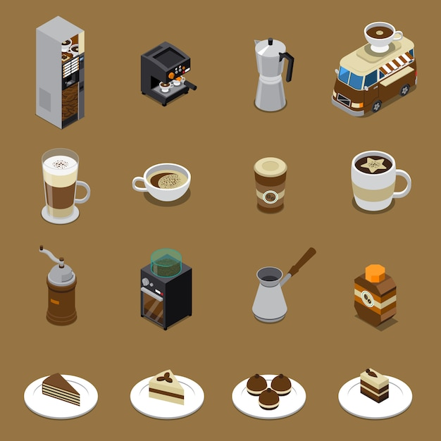 Coffee isometric set Free Vector